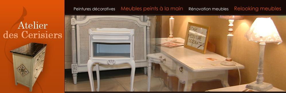 Peinture sur meuble bois repeindre meuble d coration meuble bois atelier des cerisiers artisan d for Peinture deco meuble